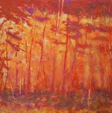 Abstract with shapes similar to tall, slender trees in yellows, oranges, and reds