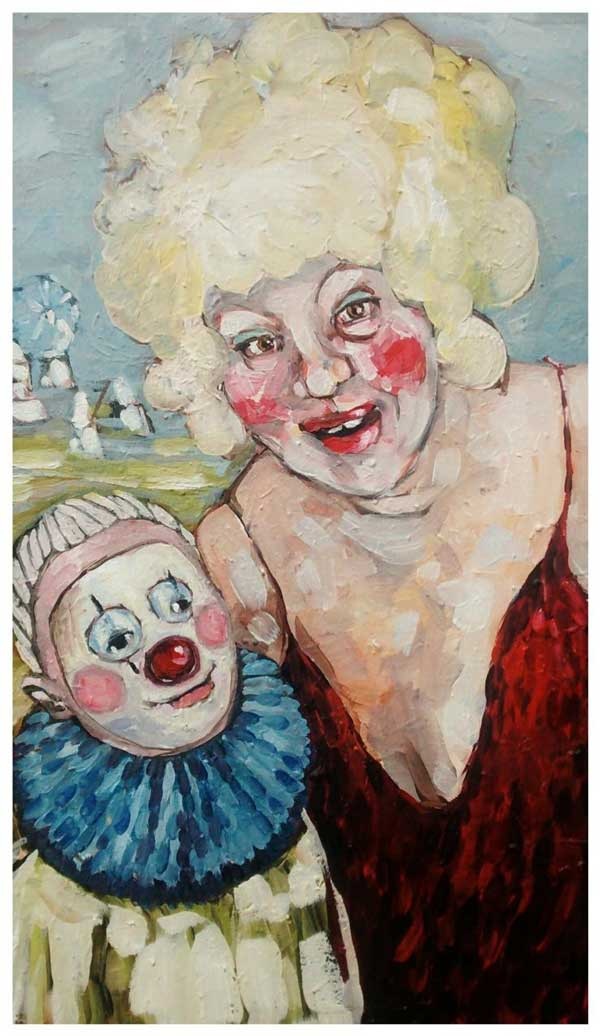 Painting of clowns, one is an adult woman, the other is a child.
