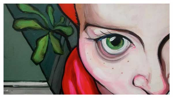 Painting of closeup of female face with red hair and green eyes.