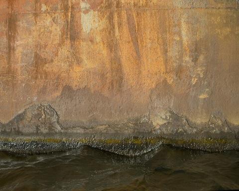 Painting of dark water and land beneath rust streaked sky
