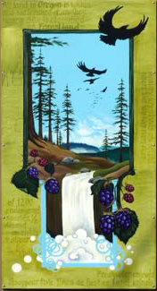 The second panel features Oregon forests and the rivers that run through them, nurturing growth, wild habitat, and life. Raptors soar toward the treeline and around the forest floor hang ripe berries.