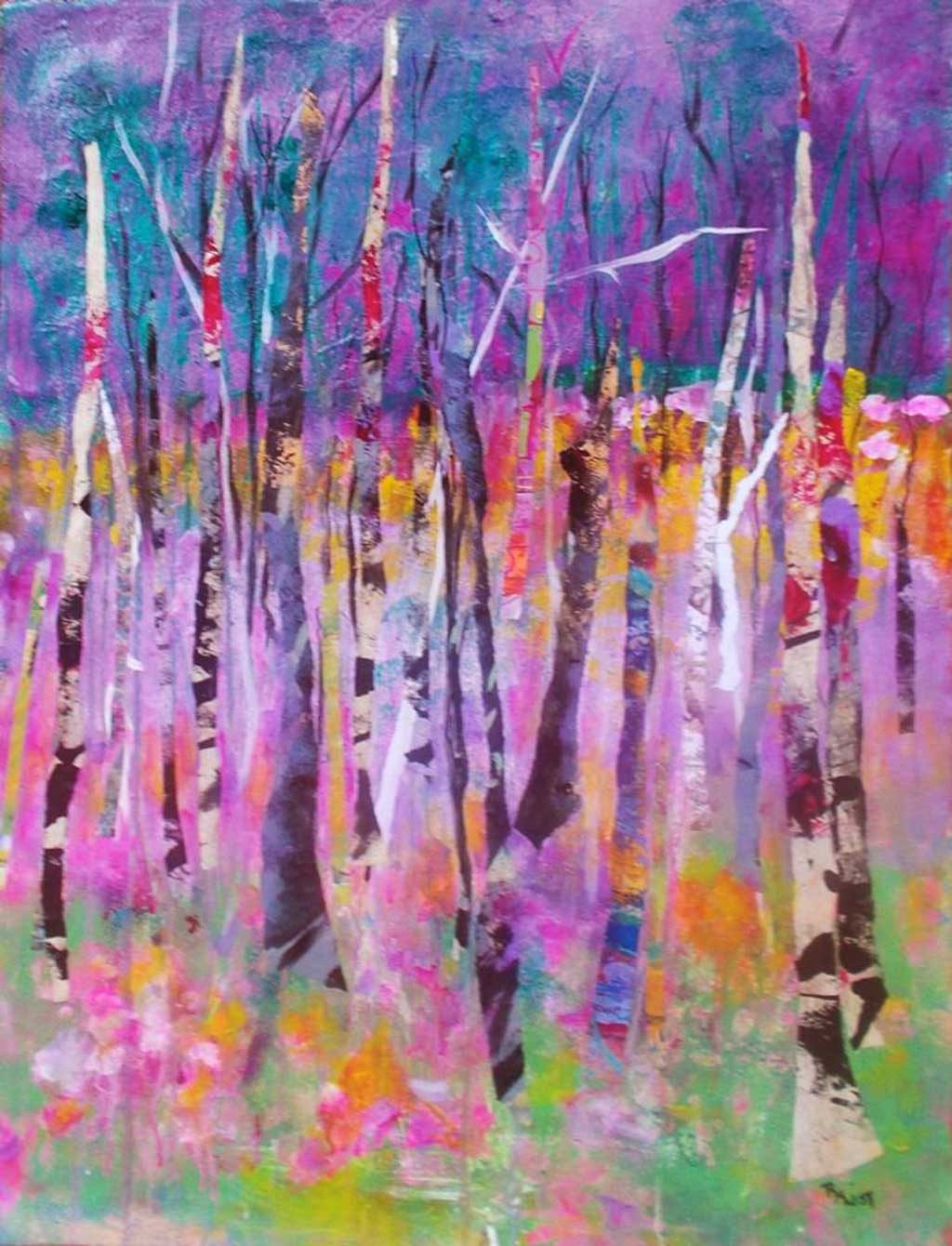 Mixed media painting of colorful tree trunks