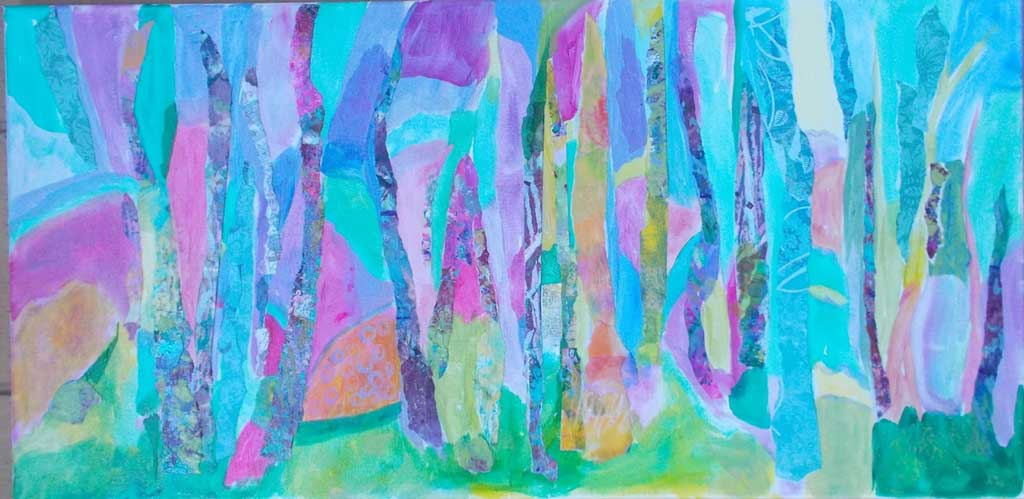 Mixed media image of brightly colored, stylized tree trunks.