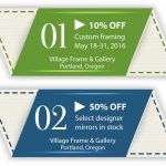 Coupon for 10% off custom framing May 18 - 31 and 50% off select designer mirrors.