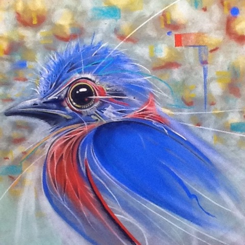 Pastel of colorful blue bird.