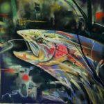 Pastel of salmon swimming upriver