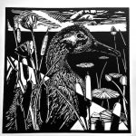 Black and white linoleum block print of duck among reeds