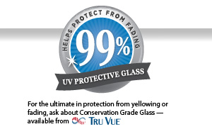 Seal that says: Helps protect from fading, 99% UV protective glass. For the ultimate in protection from yellowing or fading, ask about Conservation Grade Glass available from Tru Vue.