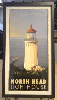 Framed travel poster of North Head lighthouse