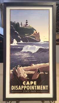 Framed travel poster of Cape Disappointment lighthouse