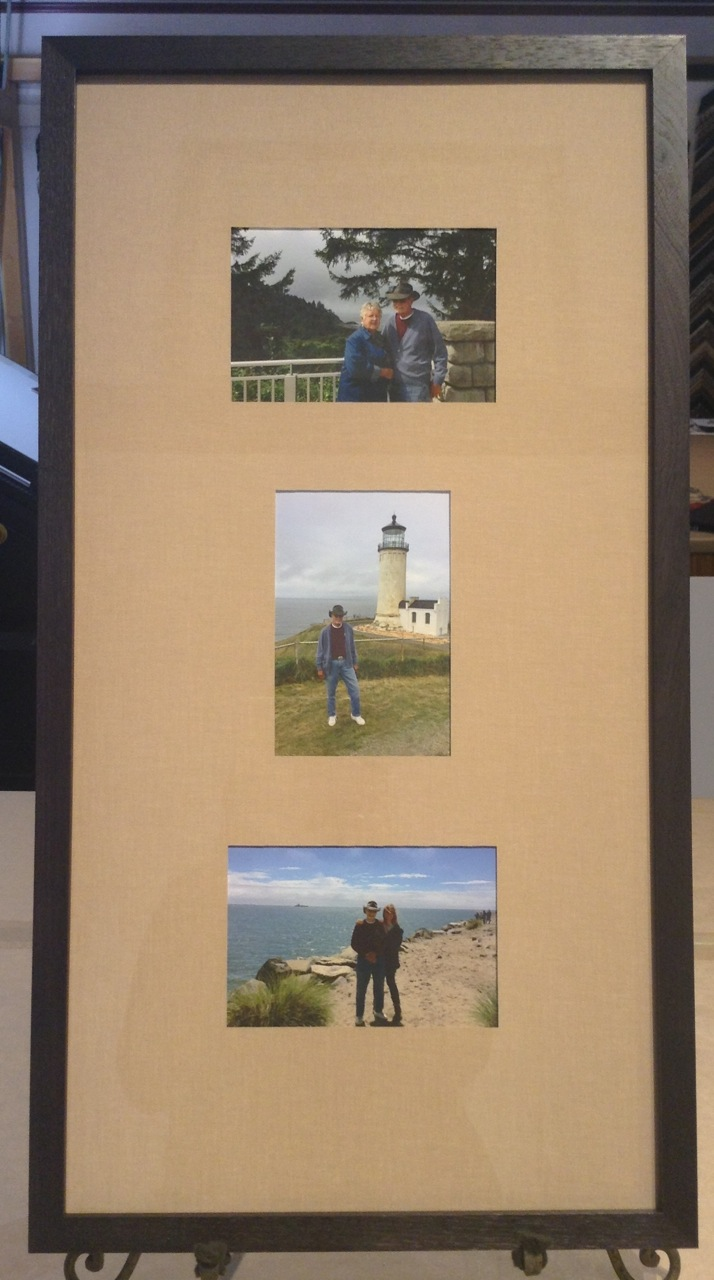 Three snapshots of beach trip, framed together.