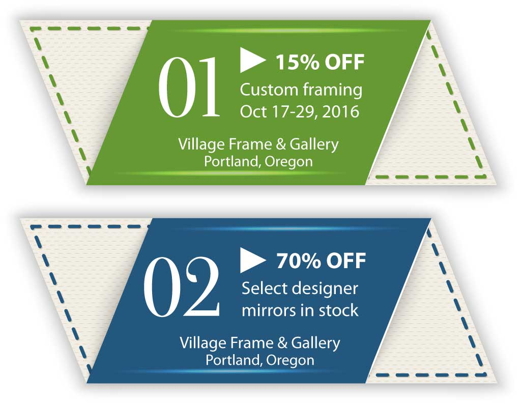 Coupons: 15% off framing Oct 17 - 29 and 70% off select mirrors