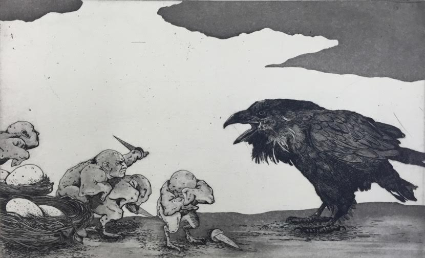 Etching of crow standing before tiny human-like creatures with swords who have surrounded a pile of eggs.