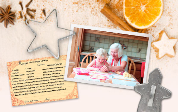 Snapshot of grandmother and grandchild making cookies next to a handwritten recipe and cookie cutters