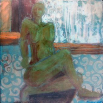 Nude figure in encaustic