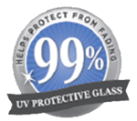 Tru Vue seal that says: 99% UV protective glass helps protect from fading