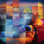 Abstract collage of colorful squares