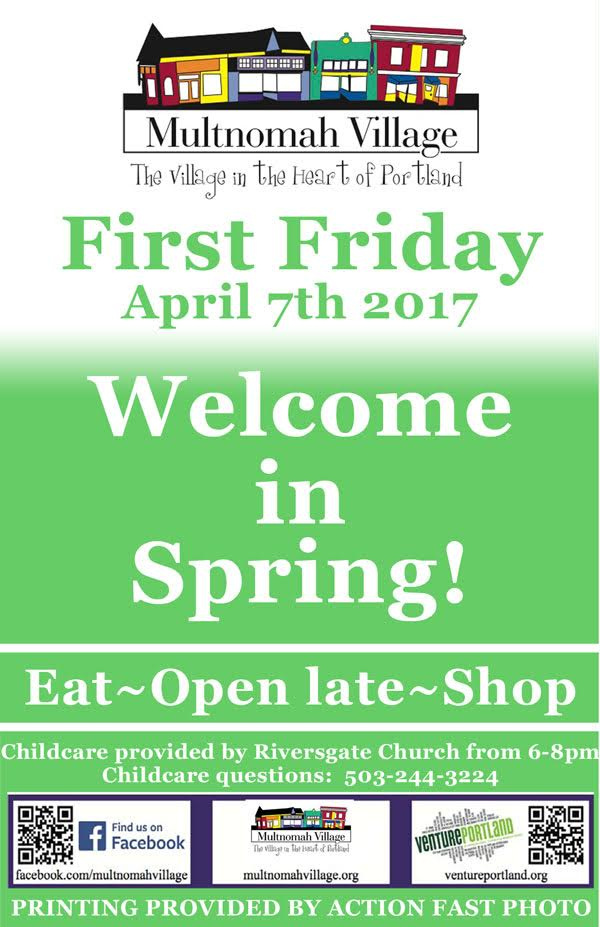First Friday Poster: Eat, Open Late, Shop in Multnomah Village