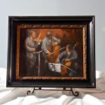 Painting of string trio playing music