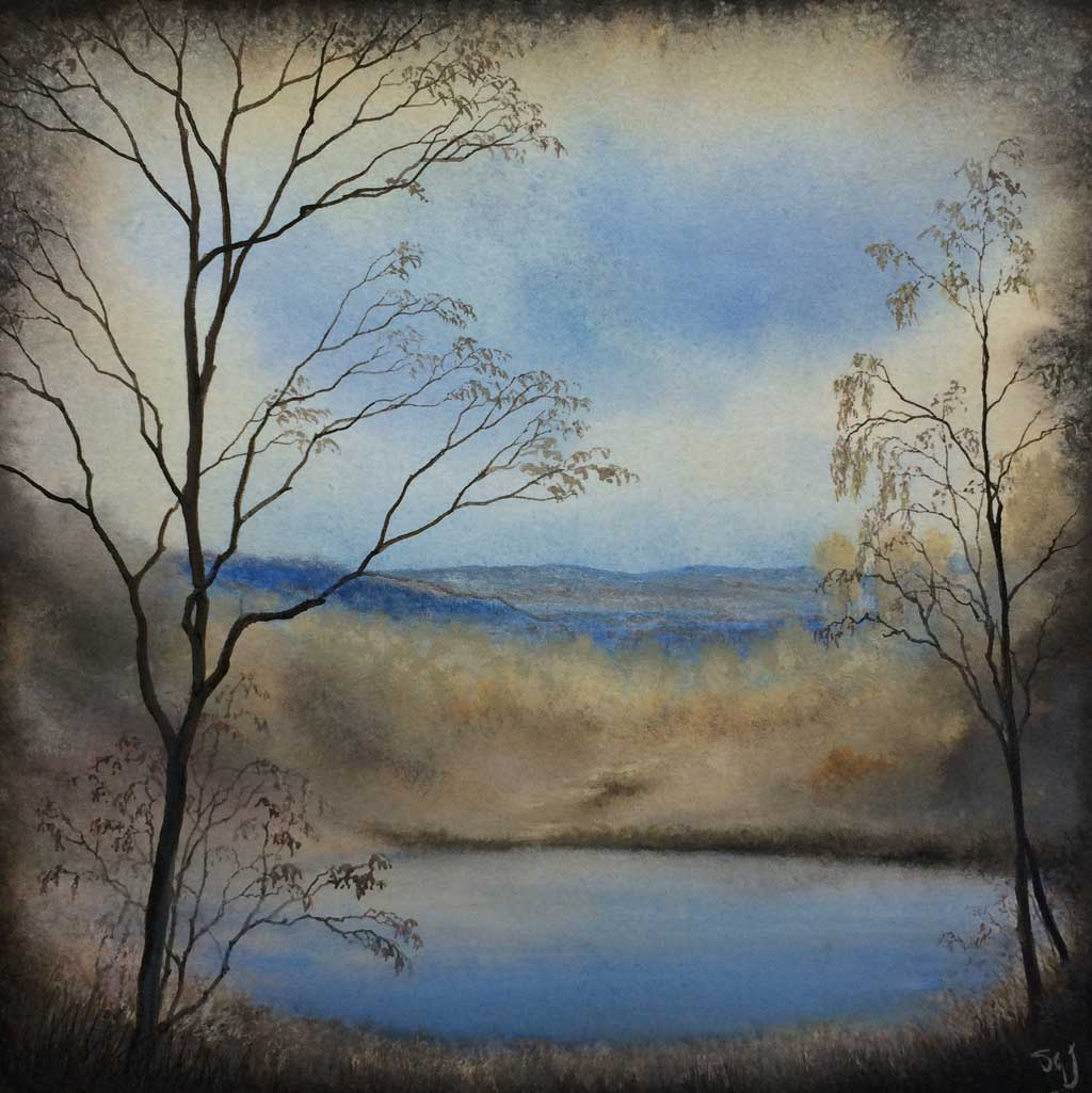 Watercolor of trees surrounding a pond