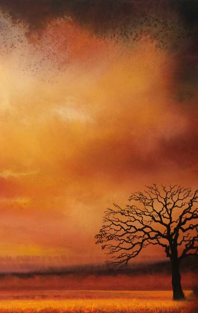 Watercolor silhouette of tree in front of sunset grassland and sky