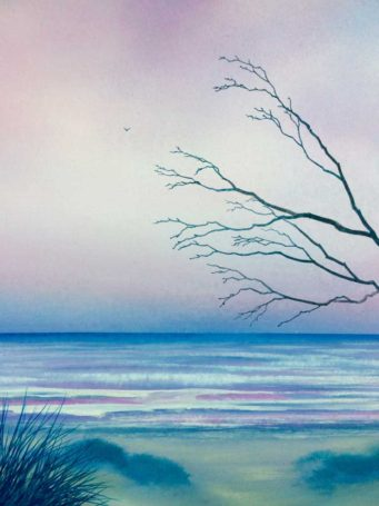Watercolor of blue, pink, and gray pastel ocean and sky framed by a few naked tree branches emerging from right side and rocky coastline in the foreground