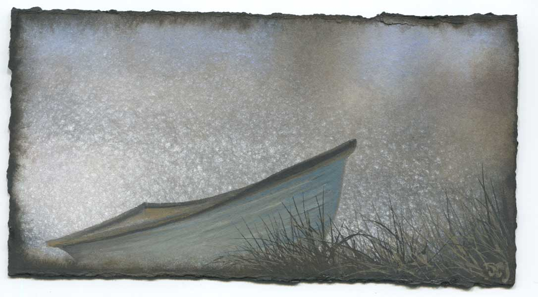 Watercolor of rowboat in the grass at the edge of water in dark, muted colors