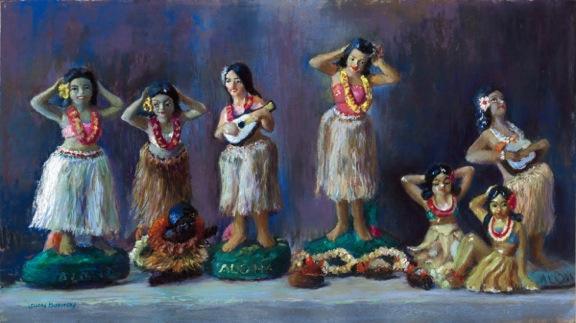 Painting of row of hula girl figurines