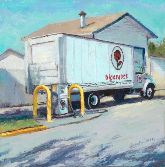 Painting of Alpenrose truck pulling away from Alpenrose gas station