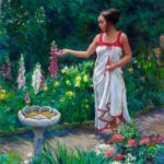Painting of beautiful woman examining foxglove blooms next to birdbath in flower garden