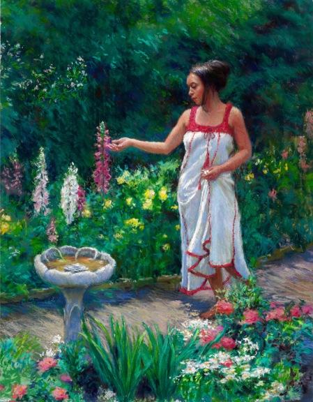 Painting of beautiful woman examining foxglove blooms next to birdbath in flower garden