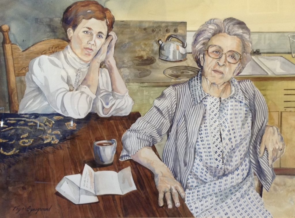Painting of older woman and younger woman sitting at a table. There is a letter on the table and both women seem to be deep in thought over it.