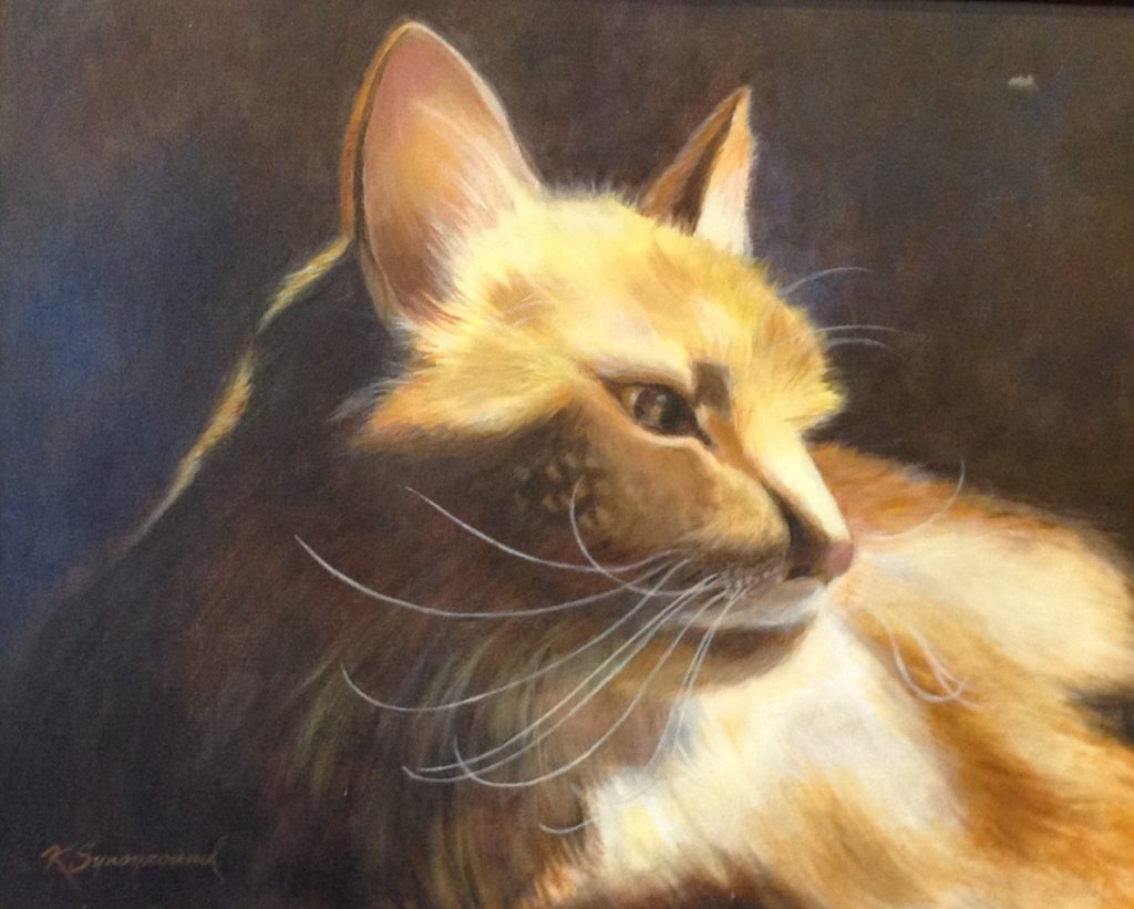 Painting of serene orange cat