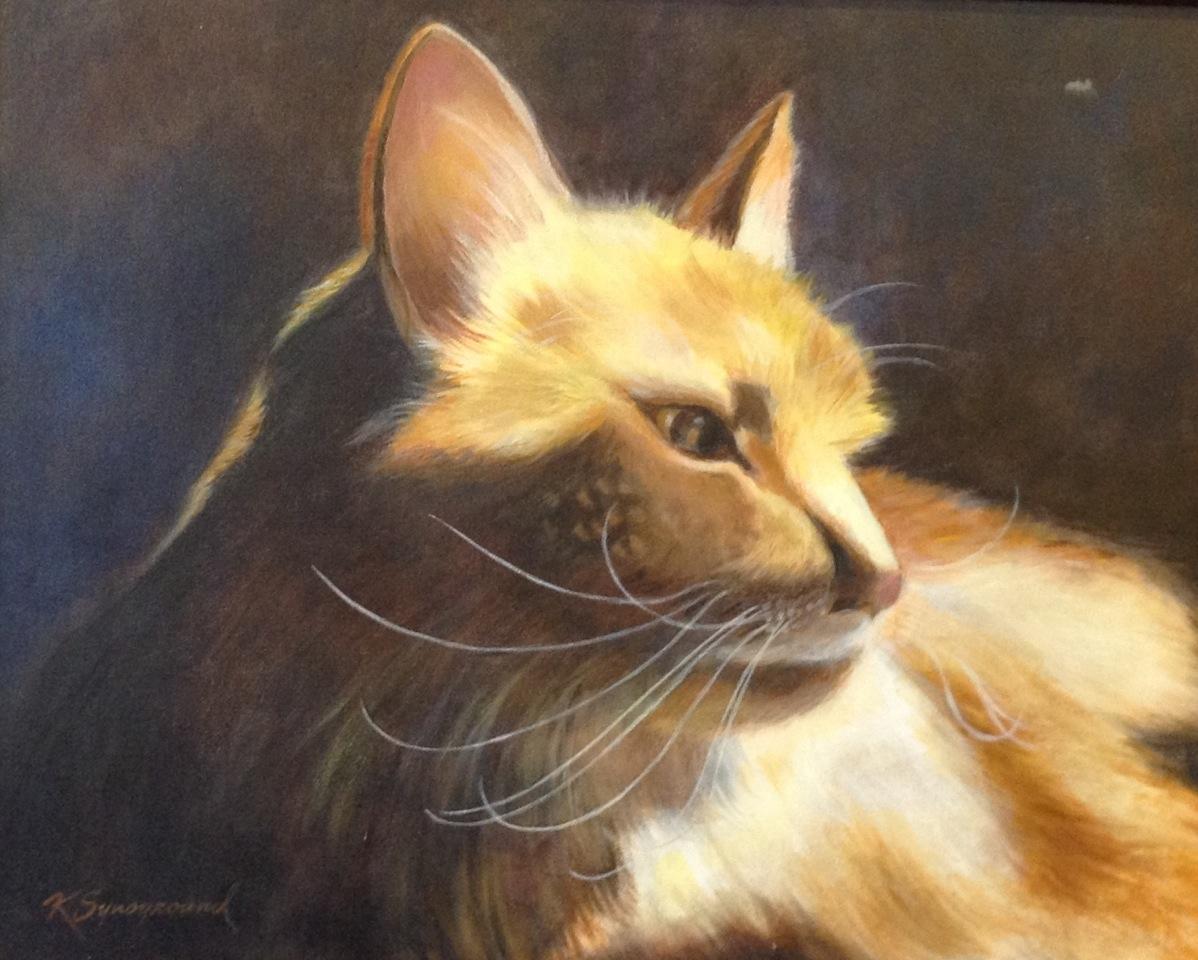 Painting of serene orange cat