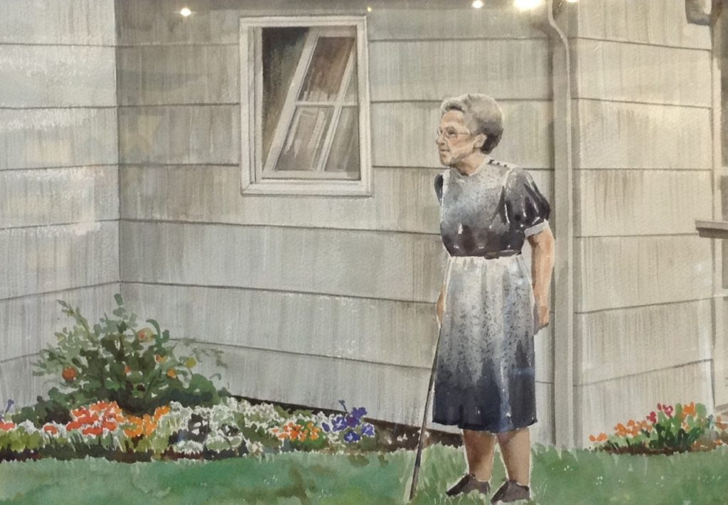 Painting of elderly woman standing outside house