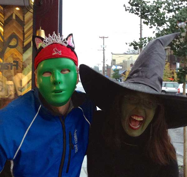 Scott and Beth in Halloween costumes. Beth is dressed as Ephelba the witch.
