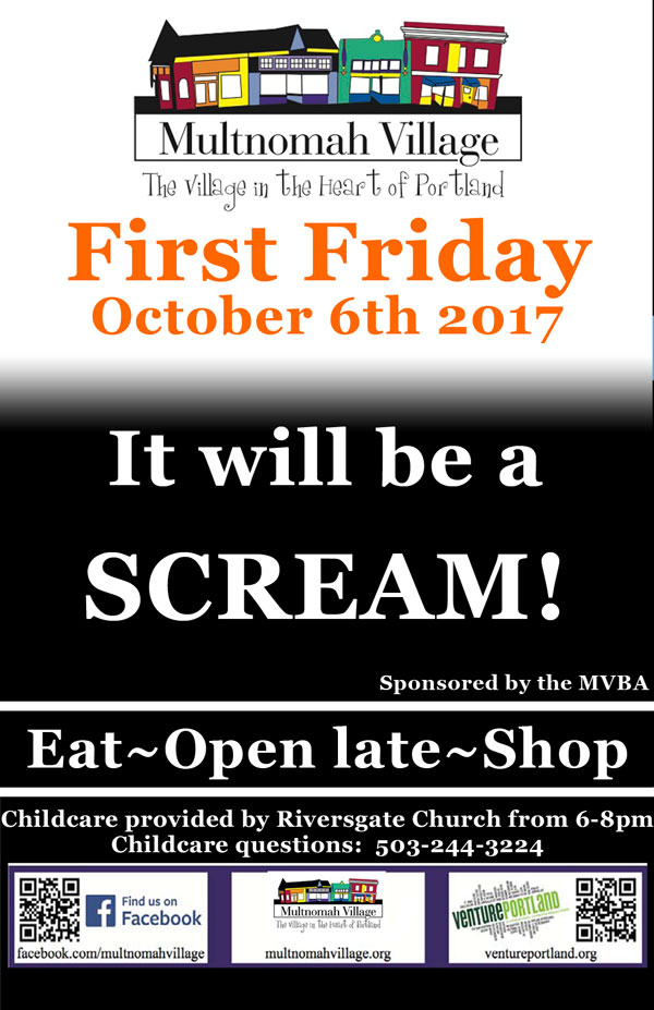 Multnomah Village First Friday poster: Come eat and shop late, it will be a scream!