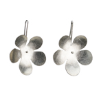 Silver with stylized flower danging from wire