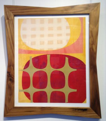 Mid-century modern art in wood frame with curved edges