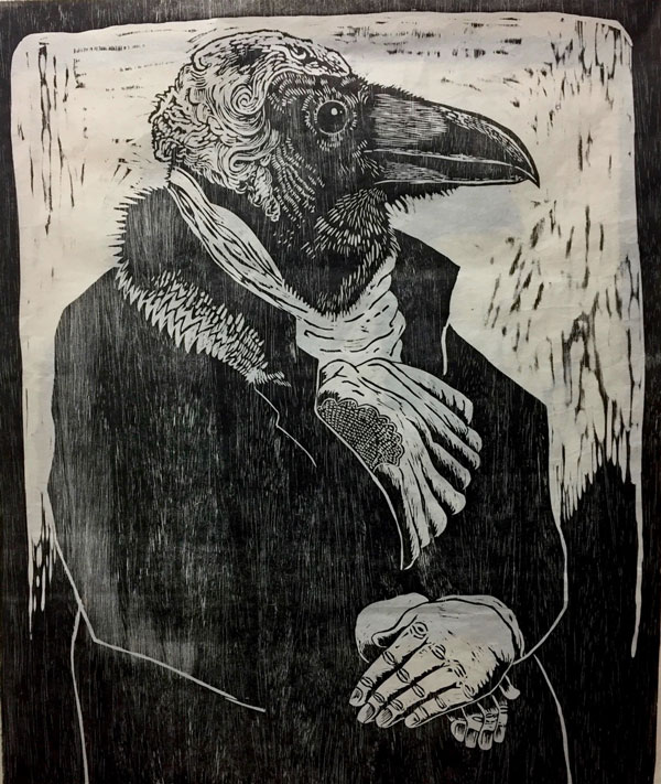 Black and white print of raven wearing a jacket and cravat