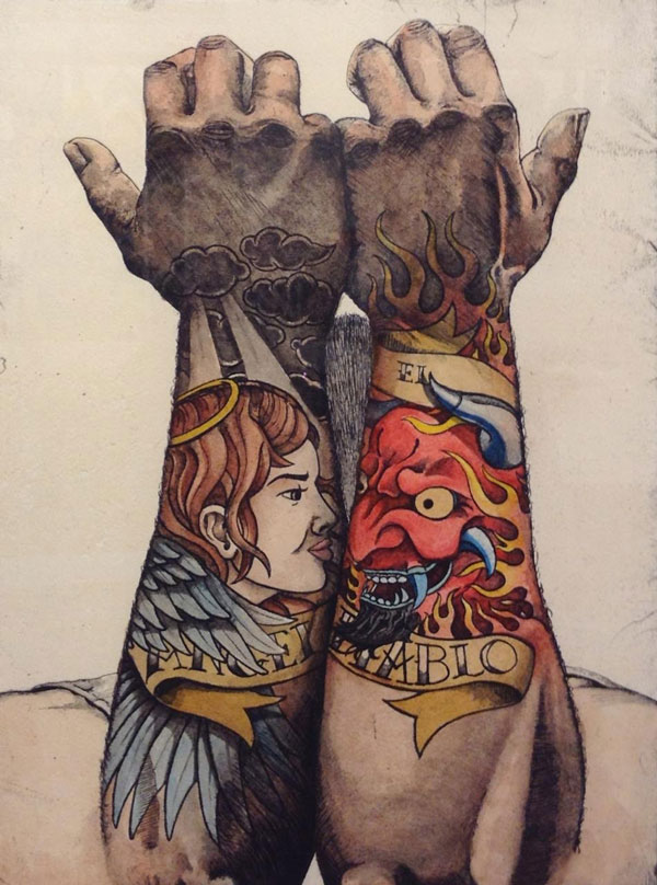 Two arms, one with an angel tattoo, one with a devil tattoo. The arms are held up so the angel and devil are face to face.