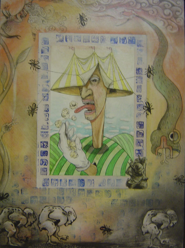 Poster painted on a wall depicts a very skinny man with a circus tent for a hat. He is eating popcorn. Around him is a snake, insects, and fantastical creatures, also painted on a wall.