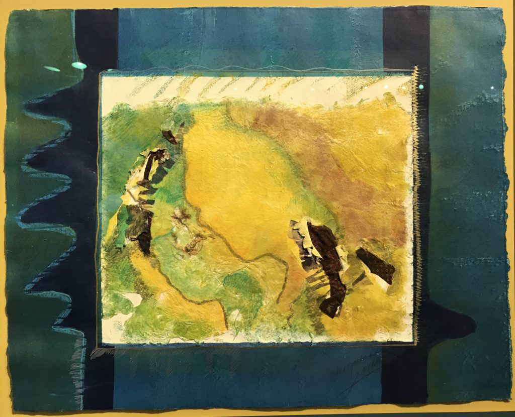 Blue, yellow, and green abstract painting