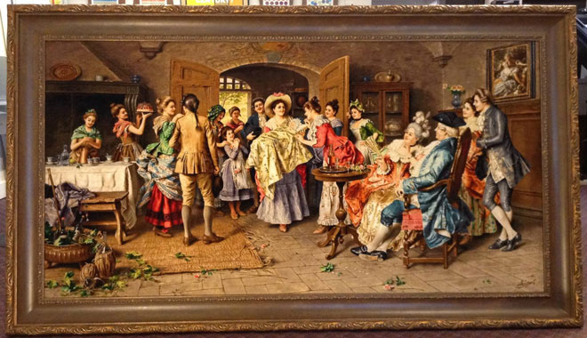 Rug with 1700s party scene depicting a room crowded with colorfully and elegantly dressed men and women.