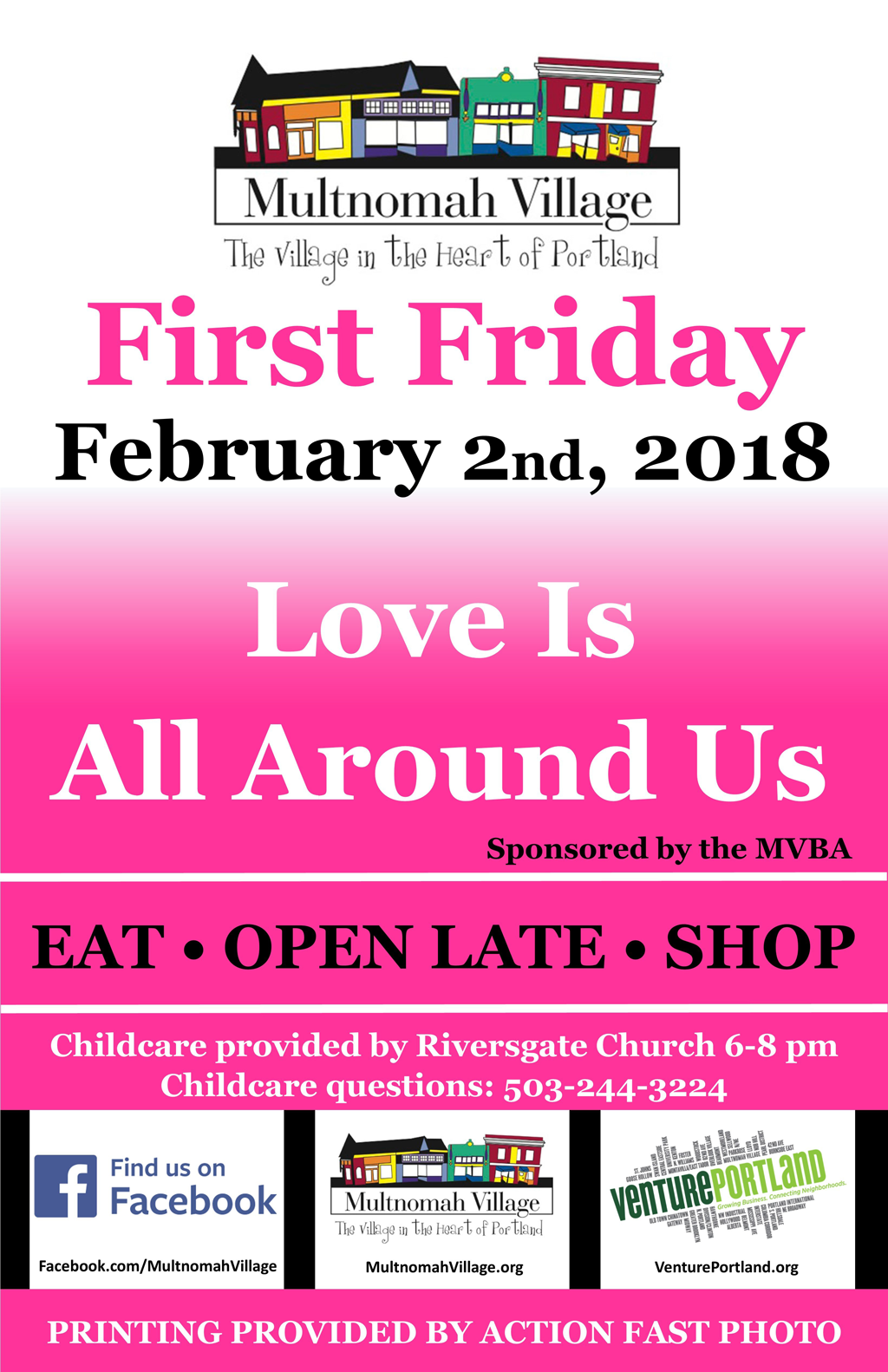 Poster: First Friday February 2, 2018 in Multnomah Village. Eat, Open Late, Shop