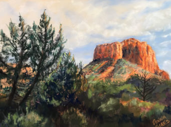 Pastel of Bell rock framed by trees.