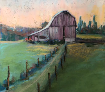 Pastel drawing of old barn at the end of a curving road at sunset.