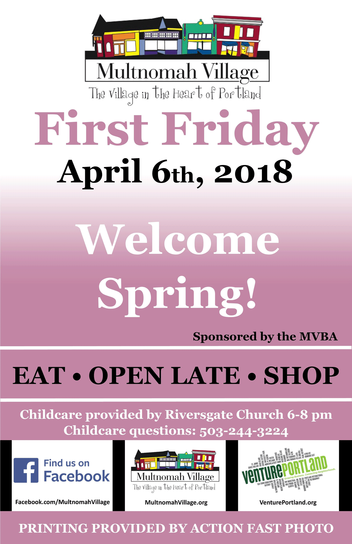 Poster advertising April 2018 First Friday in Multnomah Villages: Businesses open late, come eat and shop