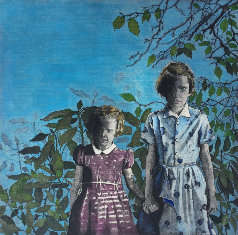 Two young girls in colorful dresses standing in front of an apple tree. They are holding hands. Their faces look serious, perhaps even angry.