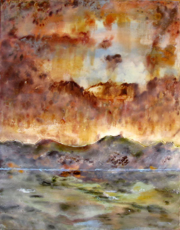 Encaustic painting of body of water, mountains rising up behind it and a stormy, rusty sky